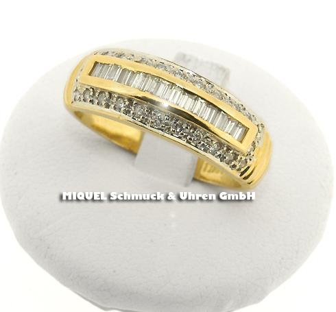 Damenring in Gelbgold 18 ct mit Diamanten